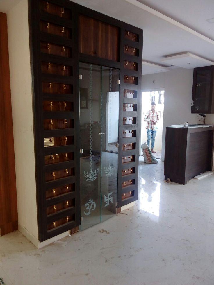 Pooja Room Designs For Flats: Puja Room Glass Door With Bells, Best Suit For Flats