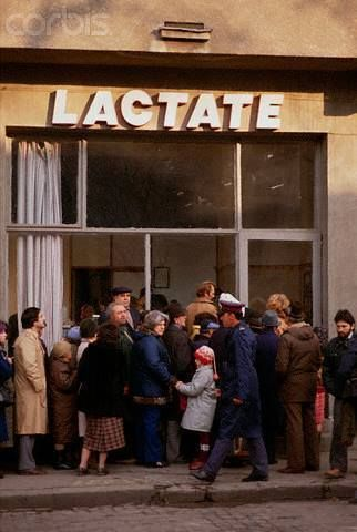 Romania before 1989 - queue for milk