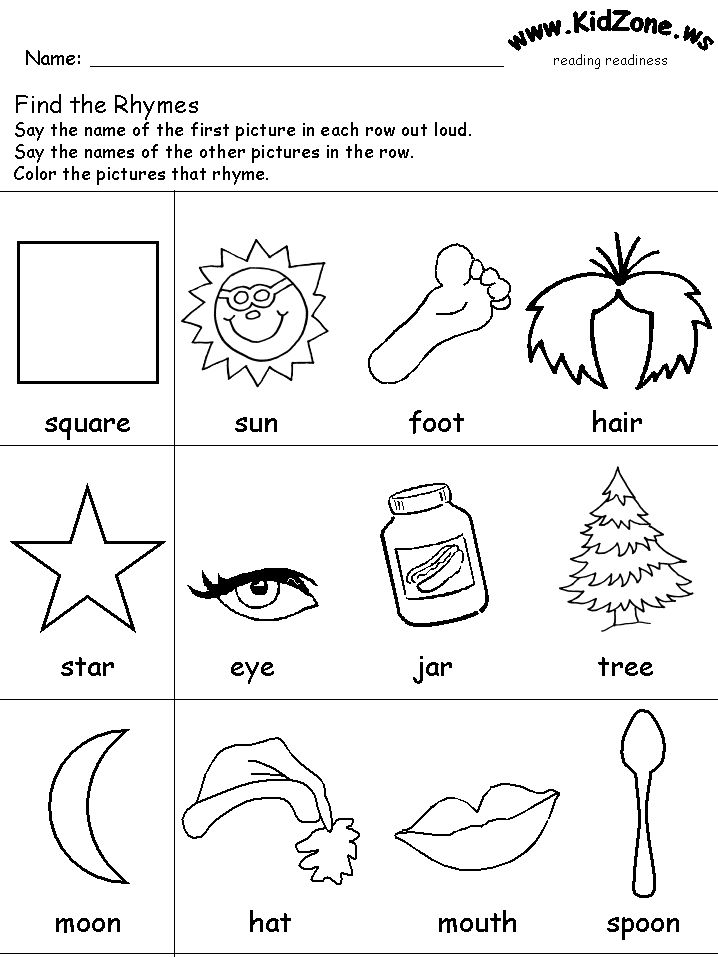 Rhyming Color Sheets For Kindergarten Reading Readiness