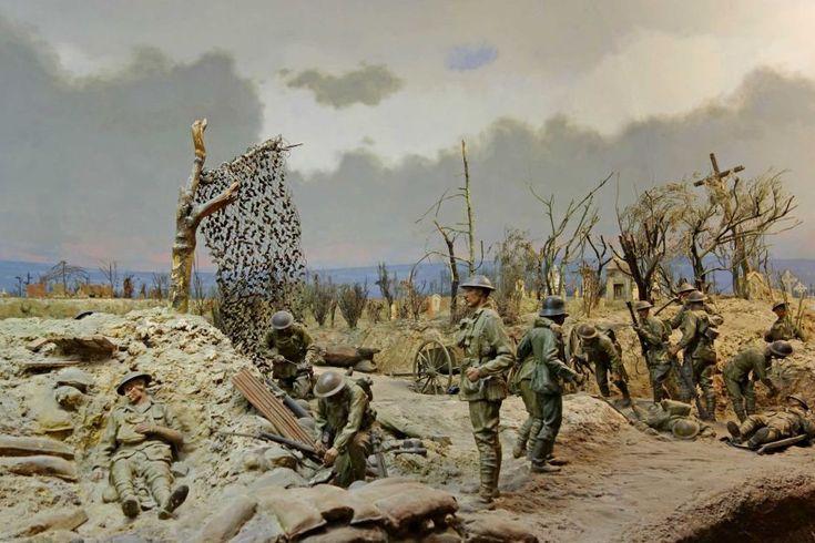 The Dernancourt 1918 diorama at the Australian War Memorial.