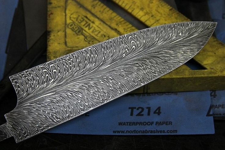 Hhh Feather Damascus Chef Knife Blade Damascus Steel