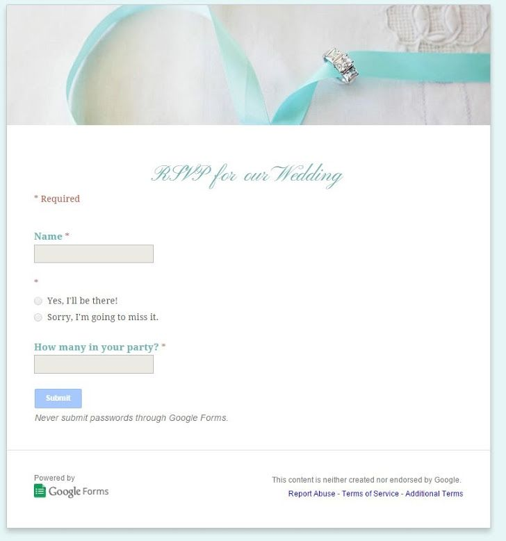 How to use Google Docs to create an online wedding RSVP tool