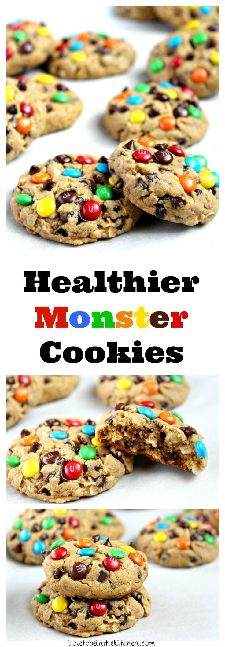 A soft and delicious healthier Monster Cookie made with peanut butter, oats, mini chocolate chips and topped with colorful mini M&M's. There's no butter, oil or flour in these cookies!
