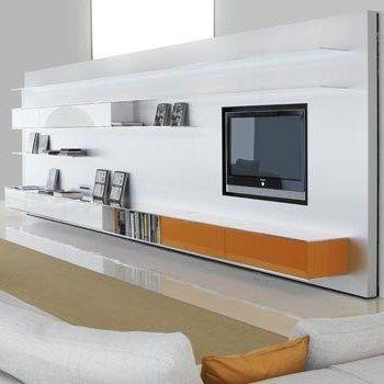 Design wandpaneel uitsluitend ontworpen voor gebruik van plasma en LCD-TV's . Panelen zijn uitgerust met een open kasten, legplanken in gepolijst aluminium, cd-en dvd-doosjes. Een tv kan worden ingebouwd op twee verschillende manieren: flush-mounted (met -