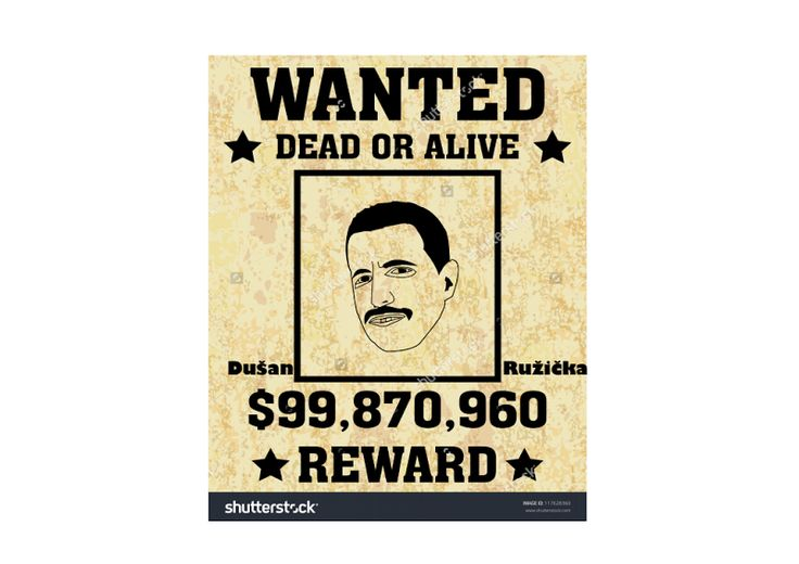 Wanted Dušan Ružička, face - vector, poster