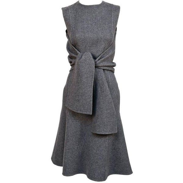 Pre-owned CELINE grey cashmere runway dress with knotted 'sleeves' -... ($2,400) ❤ liked on Polyvore featuring dresses, day dress, knot dress, cashmere dress, pocket dress, preowned dresses and grey dress