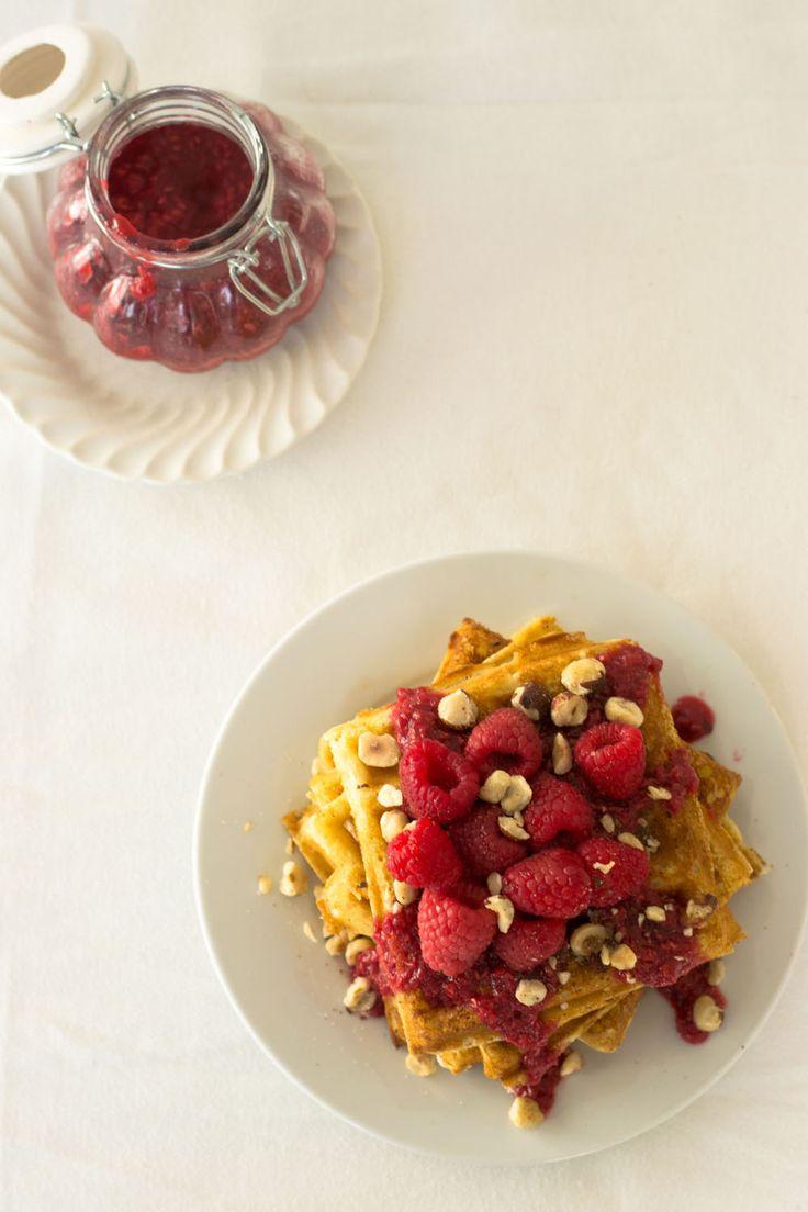 Hazelnut Waffles with Raspberry Syrup via Sift & Whisk