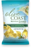 OLIVE COAST™ Tuscan Style Herb Garlic Kettle Cooked Potato Chips are cooked in 100% olive oil. Made with all-natural ingredients, you'll taste the delicious and authentic flavor of the Mediterranean in every bite.