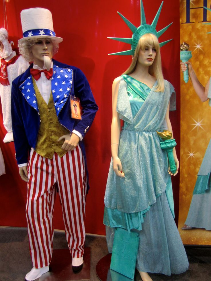 All American style costumes of Uncle Sam and Statue of Liberty. 4th of July here we come. #American #costumes #4th July #Uncle Sam #statue liberty