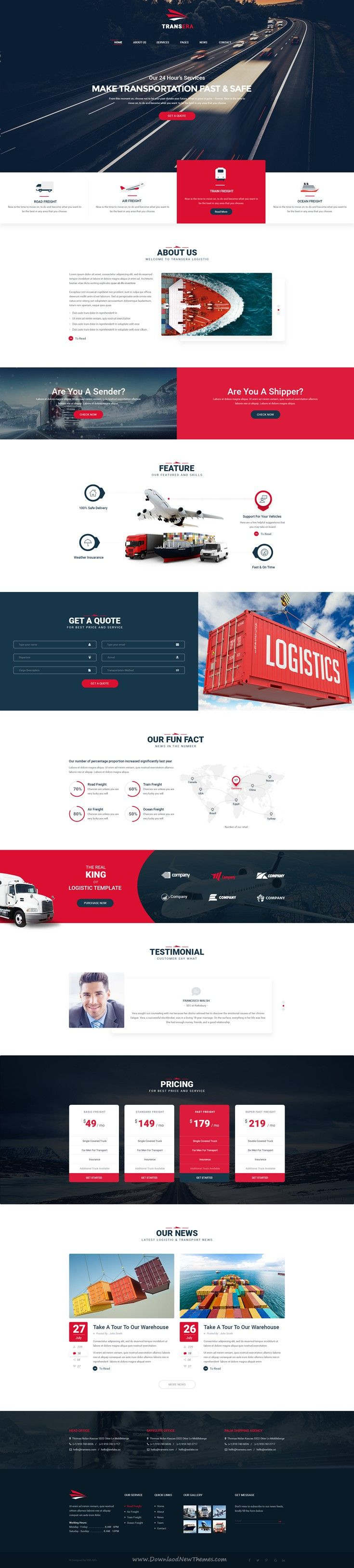 Transera is a clean and modern PSD Template for Transportation and Logistics business website.