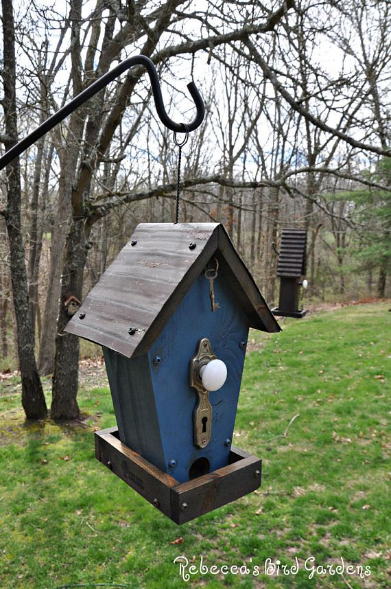"Blue Rustic Bird Feeder ~ ""The Cafe"" - Wooden Bird Feeder, Hanging Bird Feeder, Vintage Bird Feeder, Unique Bird Feeder"