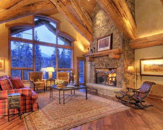 Fabulous Mountain House Design; Living Room Decoration: Fabulous Living Rooms For Mountain Homes Classic Stone Fireplace