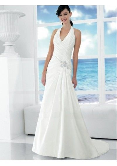 Chiffon Sexy V-neck With Halter Rouched Bodice With Slim A-line Skirt White Informal Wedding Dress WD0359
