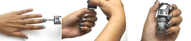 Magnetic nail polish. Once applied, pass the cap over wet nails. Creates 3D effects and stripes easily. Sephora $16.