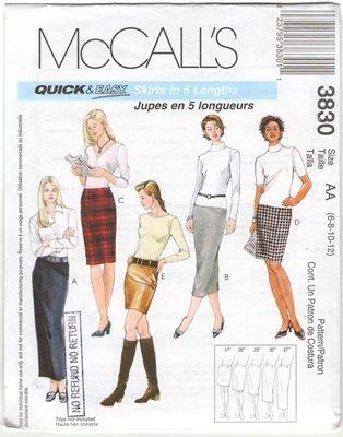 McCall's 3830 Size AA 6 8 10 12 Skirts Uncut Sewing Pattern