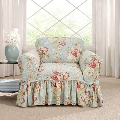 Ballad Bouquet Chair Slipcover Robins Egg Blue Sure Fit