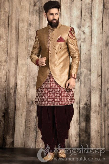 Golden Silk Indo Western Mens Wear Suit. For more information :- Call us @+919377222211 (Whatsapp Available)