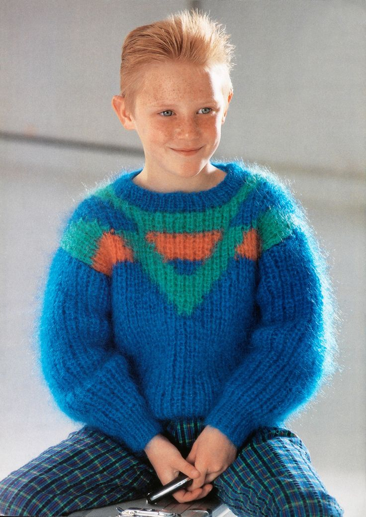 boys kids mohair sweater, photo from wendy knitting pattern fuzzy fluffy childrens