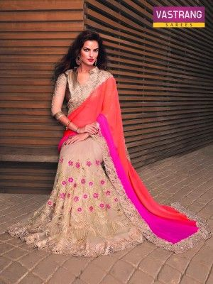 Beige and Pink and Peach Embroidery Georgette and Net saree with blouse
