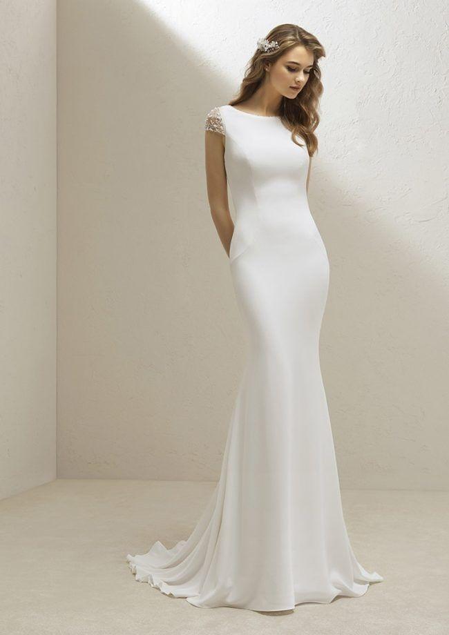 View Gallery Pronovias Wedding Dress Plain Wedding Dress Wedding Dress Cap Sleeves