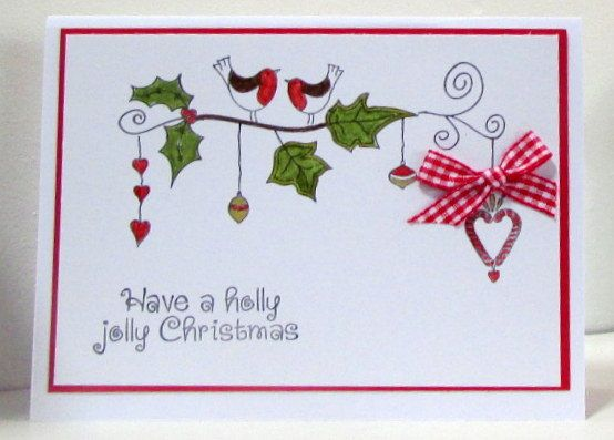 Jolly Holly Christmas Card using InkyDoodles Stamps