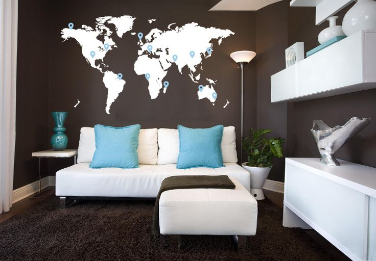 Large World Map Vinyl — Without the pins, lots of color options