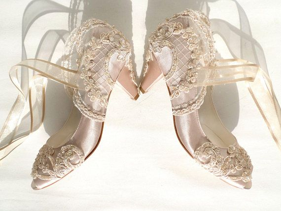 Champagne Satin Bridal Shoes With Kitten Heels Etsy Wedding Shoes Lace Custom Wedding Shoes Wedding Shoes Vintage