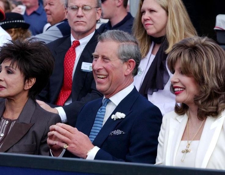 2002 The Prince of Wales with Dame Shirley Bassey (left) and Joan as they watch Diana Ross perform