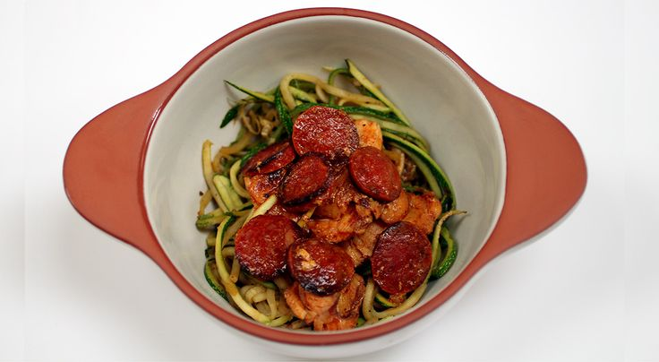 Monkfish & chorizo with courgette spaghetti