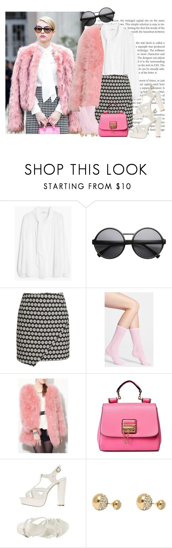 """Scream Queens: Chanel Oberlin"" by fashionbrownies ❤ liked on Polyvore featuring MANGO, H&M, Nordstrom, Silvian Heach, Adele Marie and halloweencostume"