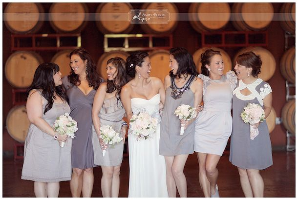Bridesmaids in lilacs and lavenders