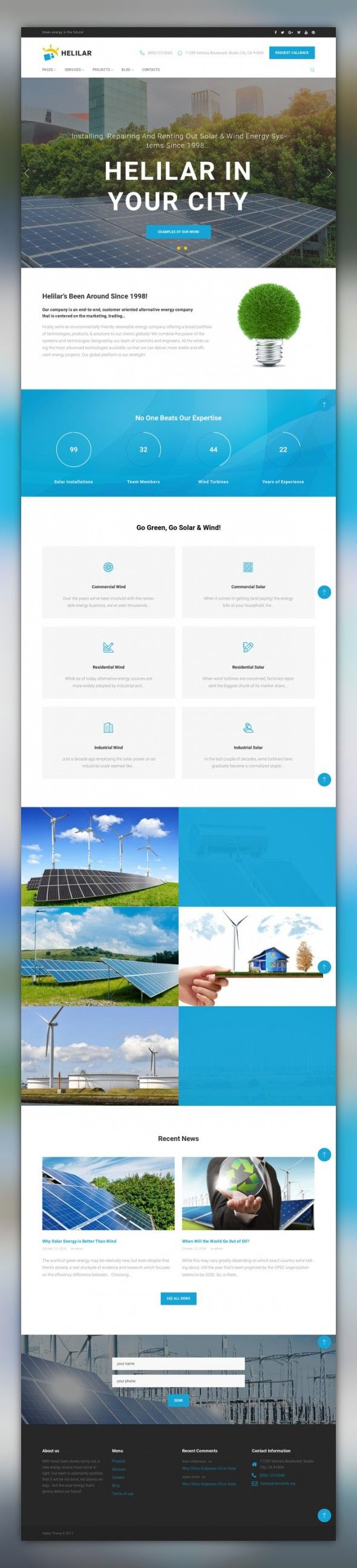 Helilar - Solar & Renewable Energy WordPress Theme CMS & Blog Templates, WordPress Themes, Business & Services, Environmental Templates, Solar Energy Templates Looking for a template that would fit for an impeccable presentation of your renewable energy business? Have a closer look at Solar Energy WP Theme, specially created for eco companies. This SEO-fr...