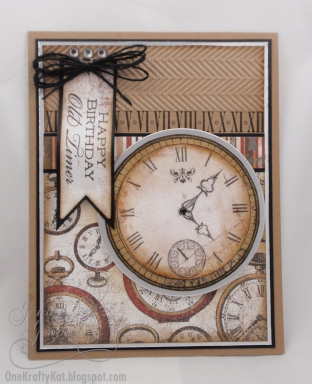 "handmade birthday card ... monochromatic browns ... ""old timer"" sentiment ... luv the cracked glass technique used on the main clock image ... Flourishes  with Bo Bunny paper ..."