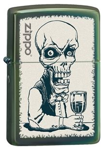 Add this unique and amusing lighter to your collection. This Chameleon™ windproof lighter features the Zippo logo and picture of a skeleton bartender. Each Zippo Windproof lighter is made in America and comes with a lifetime guarantee! #Zippo #Lighter #MadeinUSA #AmericanMade #MadeInAmerica
