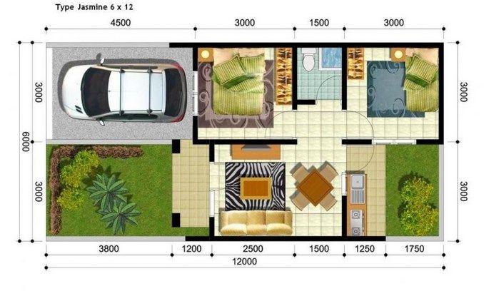 Denah Rumah minimalis ukuran 6 x 12 Meter sederhana