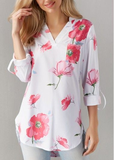 Asymmetric Hem Flower Print Split Neck White Blouse  on sale only US$28.74 now, buy cheap Asymmetric Hem Flower Print Split Neck White Blouse  at liligal.com