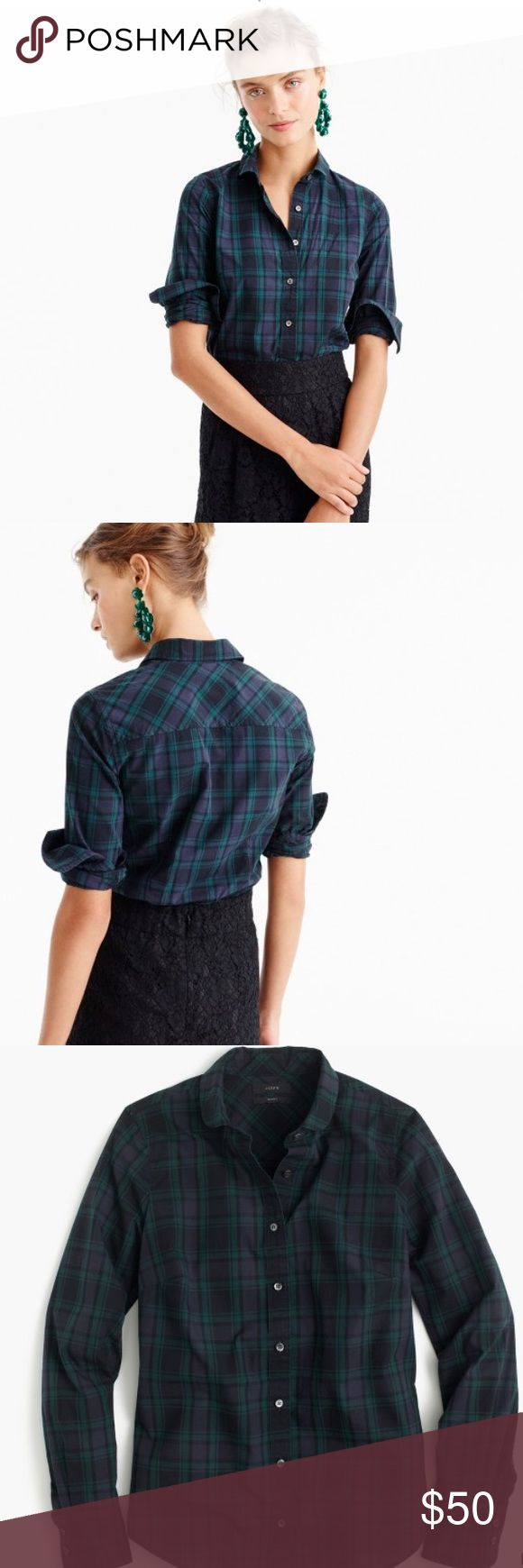 NWT J.Crew Club Crew Boyfriend Plaid Flannel shirt NWT. Color is Emerald black and navy. Boyfriend fit 26 3/4 inches long. J. Crew Tops Button Down Shirts