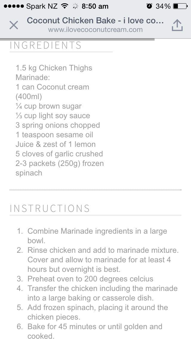 Coconut chicken bake