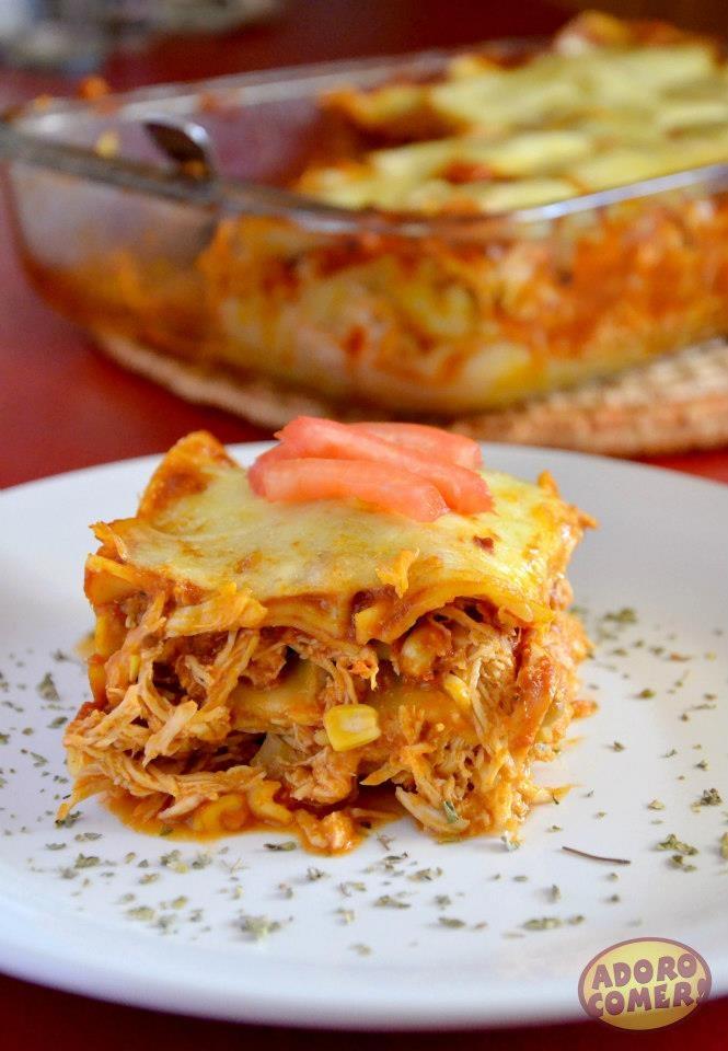 Lasanha de frango. http://adorocomer.com/