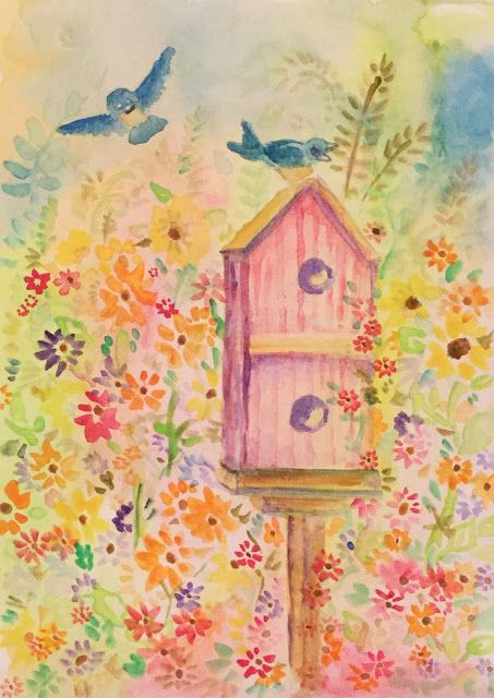 "Altoid Paint-box and waterbrush painting - ""Bluebirds and Flowers"""