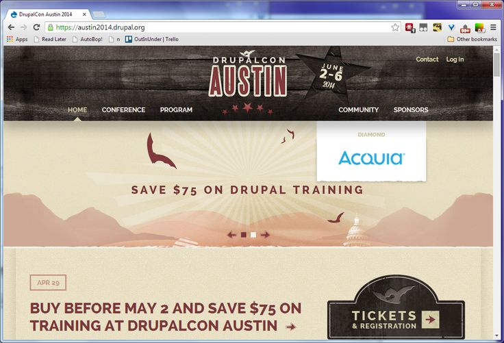 DrupalCon Austin -  I like the integration of branding, logo, and top nav