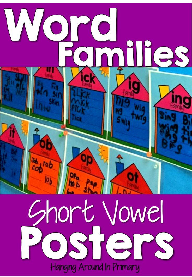 Teaching word families is an important part of learning to read and spell.  Use these posters to build your classroom display.