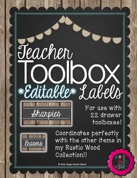 Everyone has seen the adorable teacher toolboxes, and these labels are perfect for keeping your teacher toolbox organized! They coordinate with my Rustic Wood Collection. These labels are editable so that you can create labels unique to your needs.