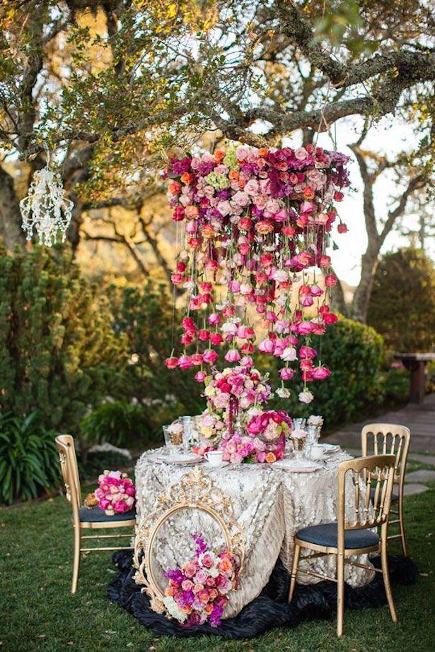 Hanging Flowers Wedding Decor ~ Page Bertelsen Photography