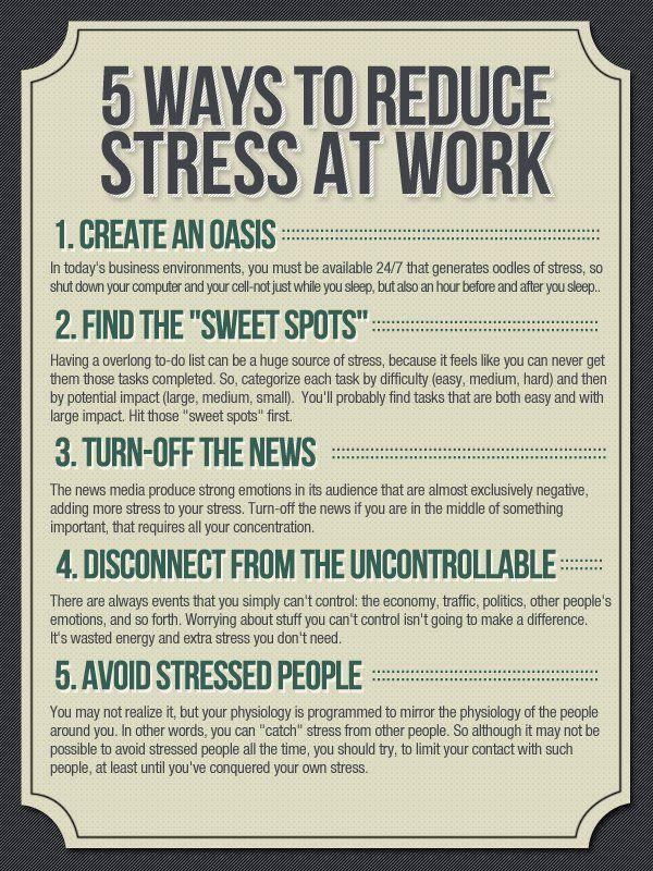 5 ways to reduce stress at work Astrology Pinterest Work