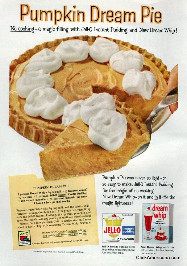1959 Jello Instant Pudding and Dream Whip - Pumpkin Dream Pie