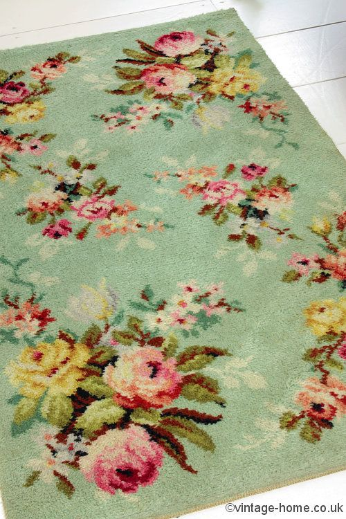 Vintage Home Shop - Pretty 1940s Rosy Green Wool Rug: www.vintage-home.co.uk