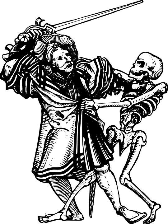 Muž, Stredovek, Smrť, Drevoryt, Meč, Kostra, Kabát
