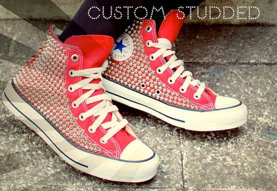 Studded Converse High Top (ONE SIDED SHOES) on Etsy, $175.00