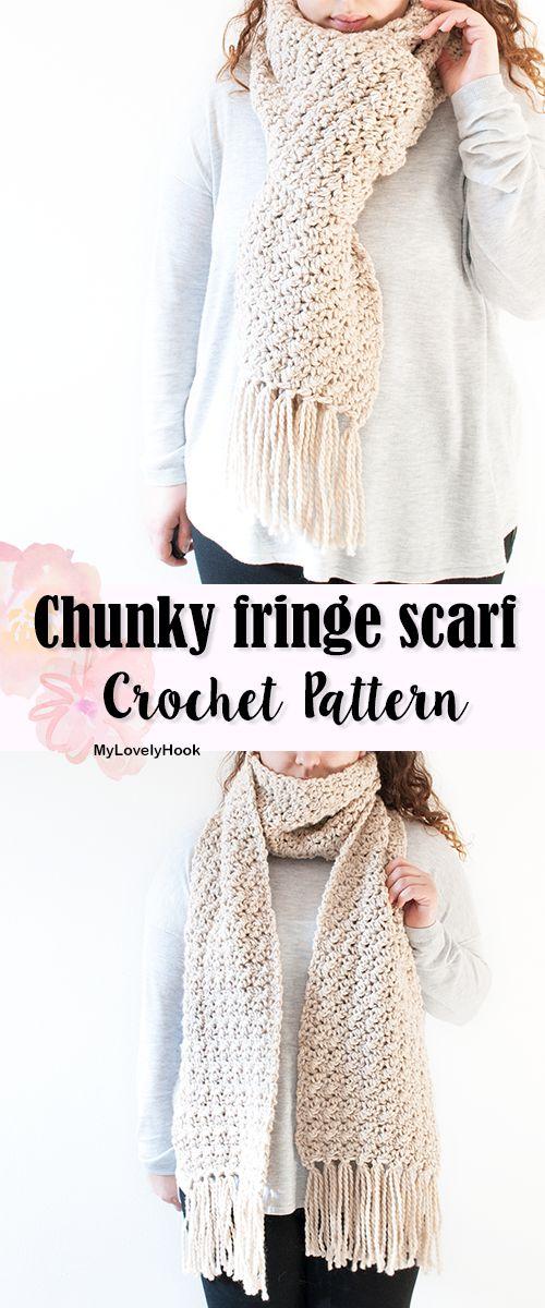 Chunky fringe scarf crochet pattern by MyLovelyHook